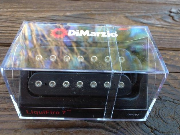 Image 0 of DiMarzio Liquifire 7 String Neck Rhythm Pickup DP 707 Black Humbucker DP707