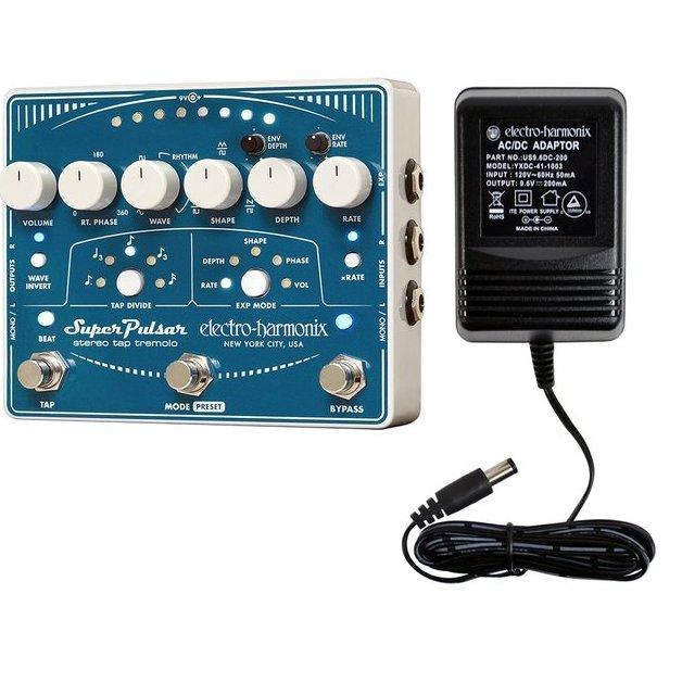 Electro Harmonix Super Pulsar Stereo Tap Tempo Tremolo Guitar Pedal EHX w/ Power