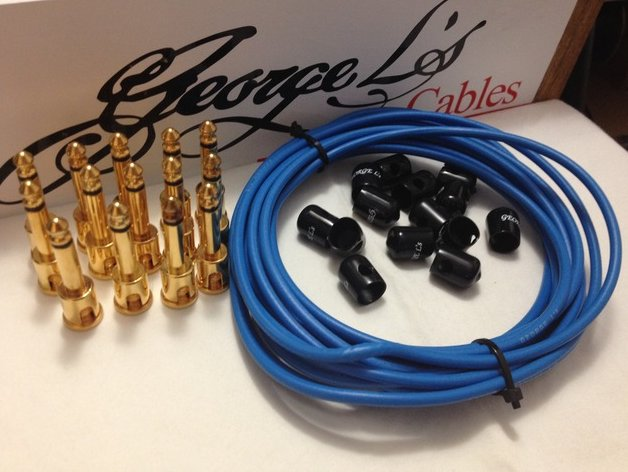 Image 0 of George L's 155 Pedalboard Effects Cable Kit LARGE Blue Black GOLD 15/14/14