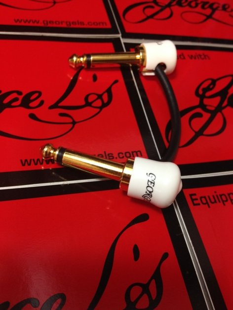 Image 0 of George L's JTM JMP Marshall Plexi Amp Gold Plated Jumper Patch Cable White Caps