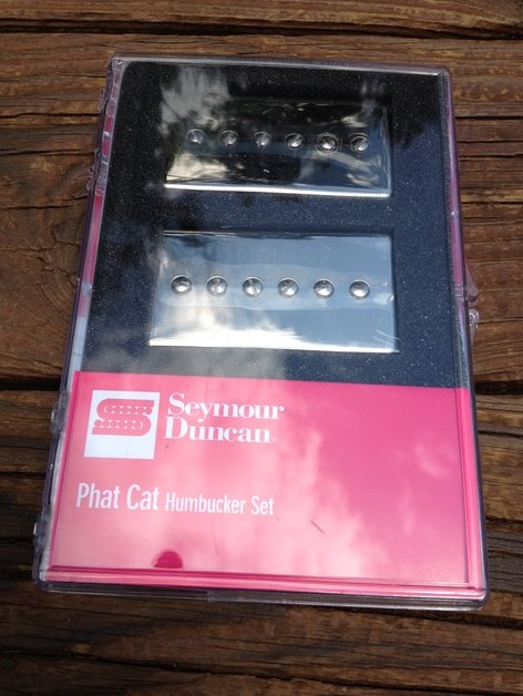 Image 0 of Seymour Duncan SPH90-1 Phat Cat Nickel Set P-90 Pickups Bridge/Neck 11108-16-NC