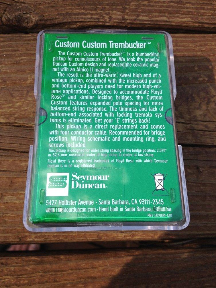 Image 1 of Seymour Duncan TB-11 Custom Custom Bridge Trembucker Black Humbucker Pickup