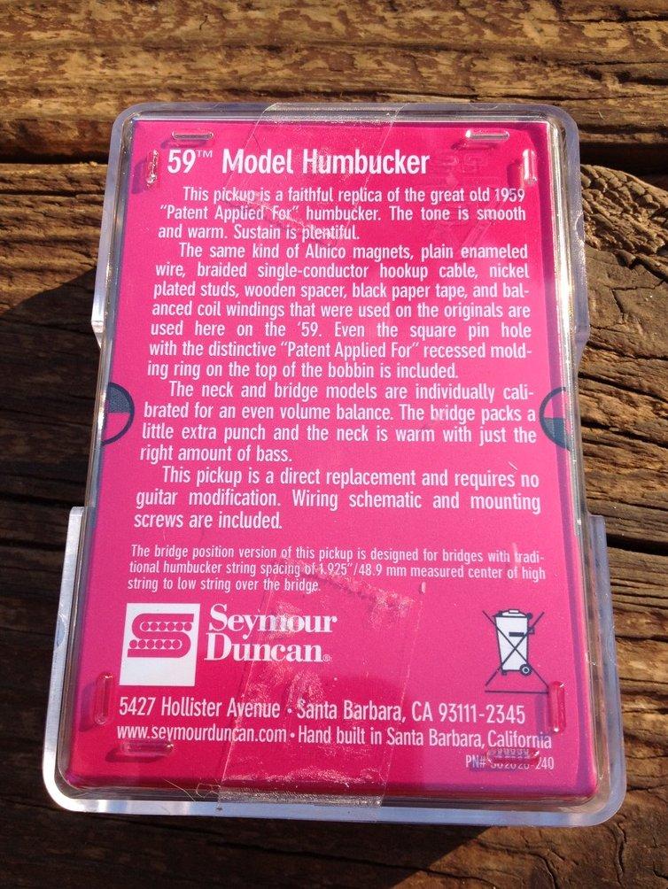 Image 1 of Seymour Duncan SH-1b 59 Model Bridge Humbucker Pickup BLACK 11101-05-B