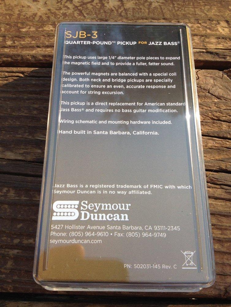 Image 1 of Seymour Duncan SJB-3b Quarter Pound for Jazz Bass Pickup BRIDGE 11402-04