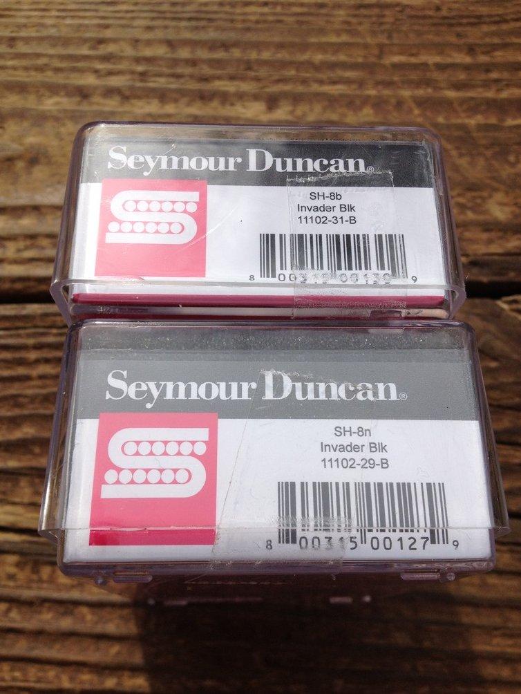 Image 2 of Seymour Duncan SH-8 Invader Humbucker Pickup SET Black Ceramic Neck & Bridge
