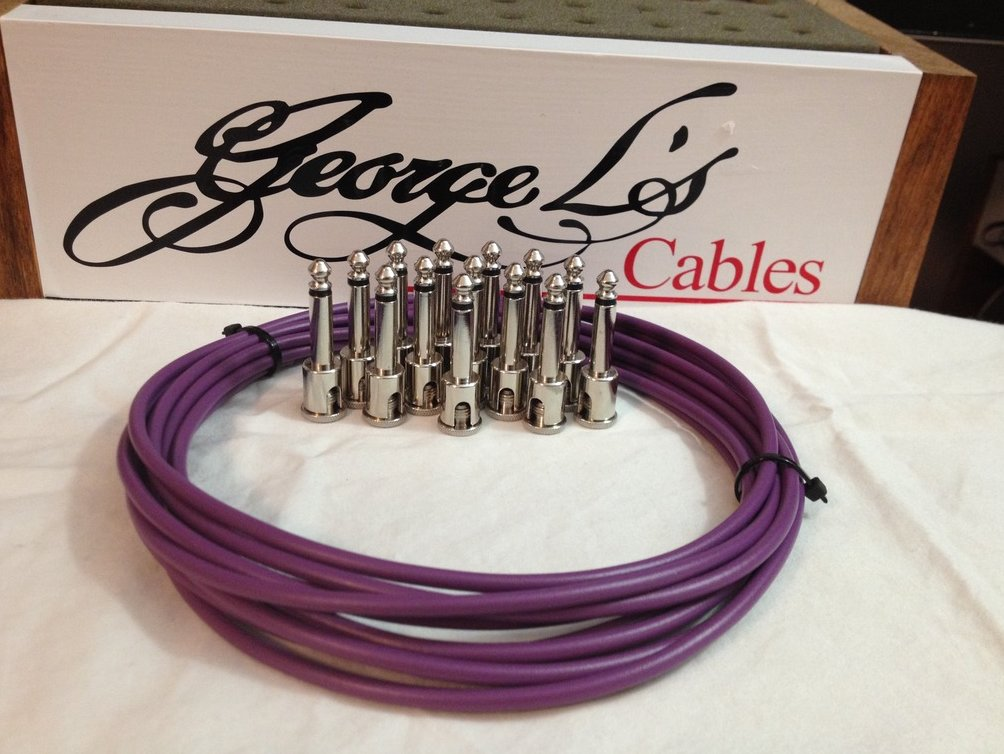Image 0 of NEW George L 155 Pedalboard Effects Cable Kit LARGE .155 Purple / Nickel 15/14