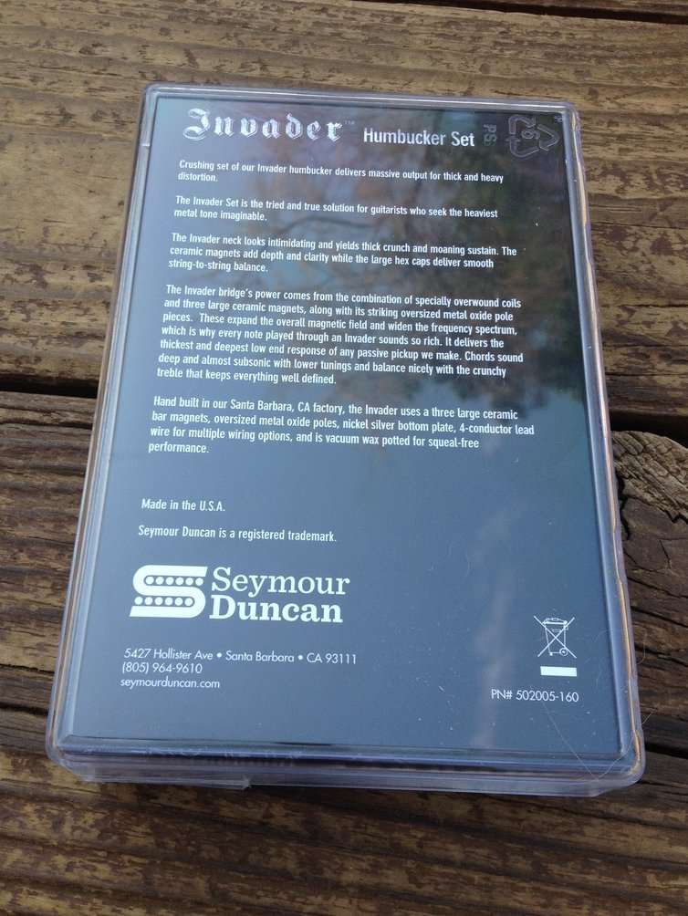 Image 1 of Seymour Duncan SH-8 Invader Humbucker Pickup SET Black Ceramic Neck & Bridge