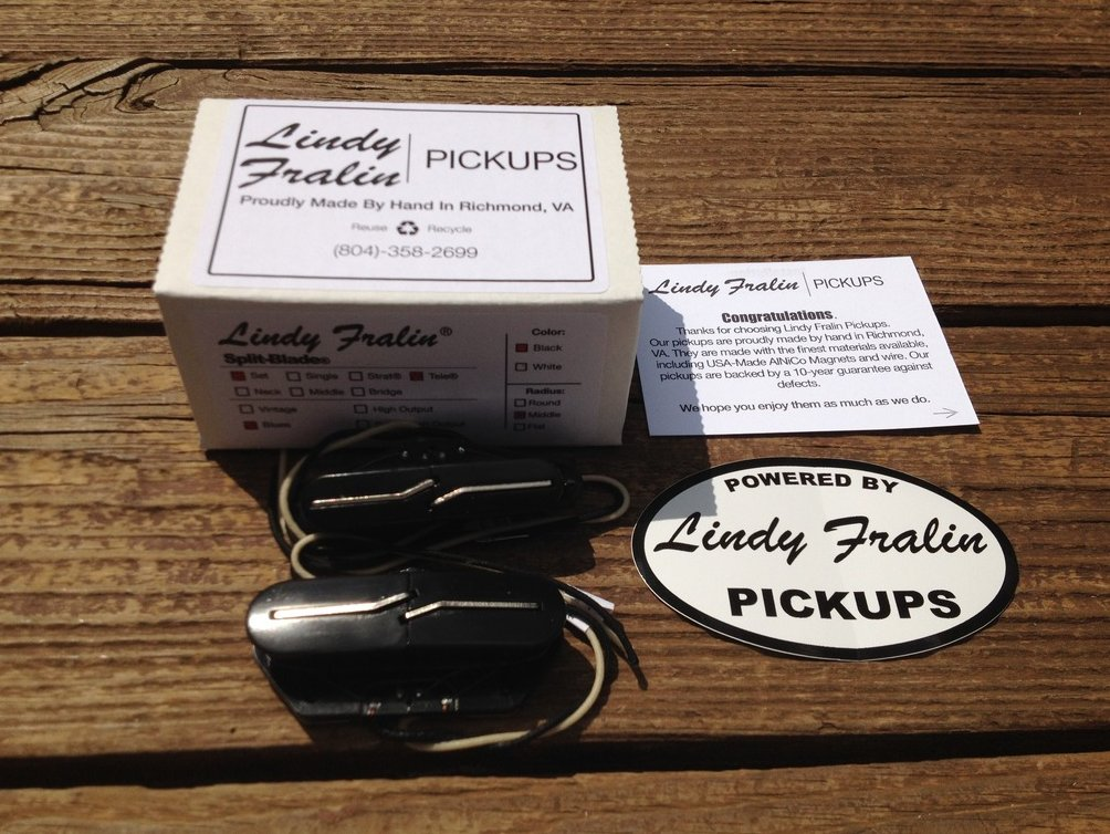 Lindy Fralin Blues Tele Split Blade Pickup Set - Black Covers Medium Radius