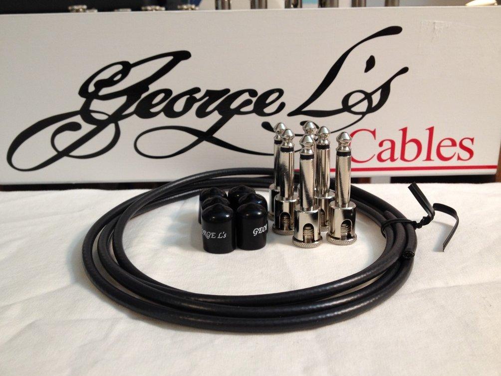 Image 0 of George L's 155 Guitar Pedal Cable Kit .155 Black / Black / Nickel - 6/6/6