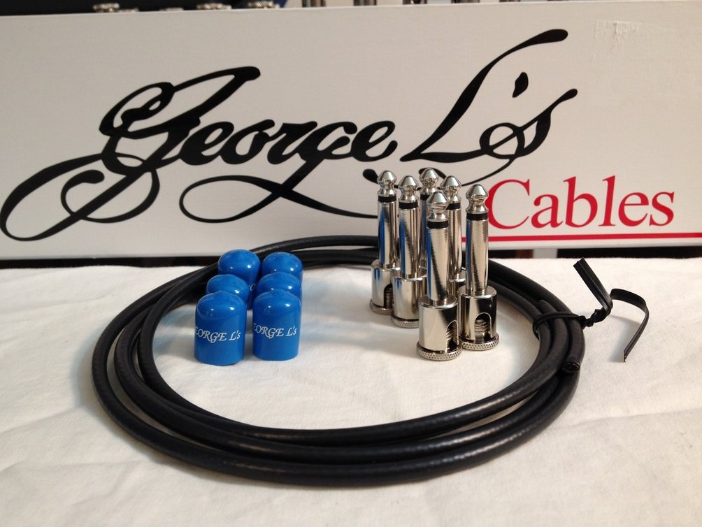 Image 0 of George L's 155 Guitar Pedal Cable Kit .155 Black / Blue / Nickel - 6/6/6
