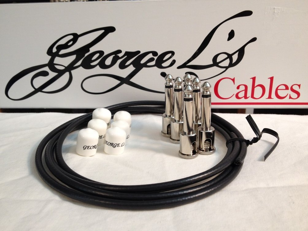 Image 0 of George L's 155 Guitar Pedal Cable Kit .155 Black / White / Nickel - 6/6/6