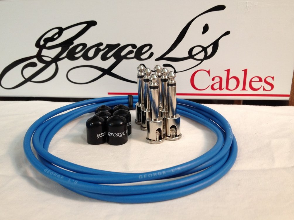 Image 0 of George L's 155 Guitar Pedal Cable Kit .155 Blue / Black / Nickel - 6/6/6