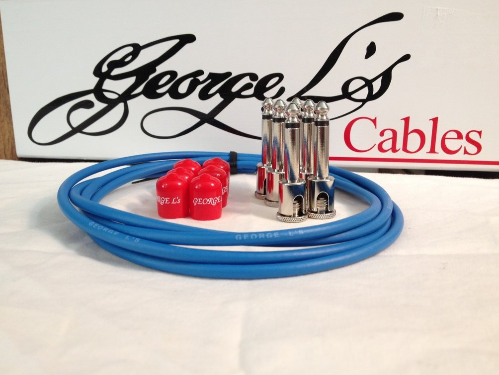 Image 0 of George L's 155 Guitar Pedal Cable Kit .155 Blue / Red / Nickel - 6/6/6
