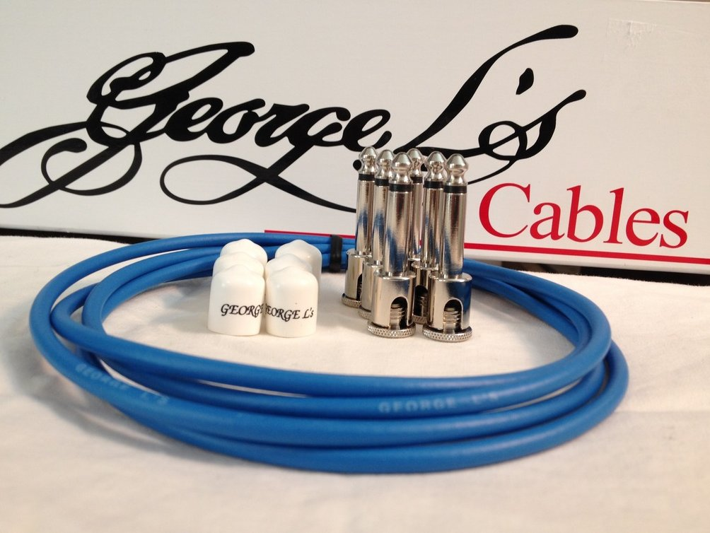Image 0 of George L's 155 Guitar Pedal Cable Kit .155 Blue / White / Nickel - 6/6/6