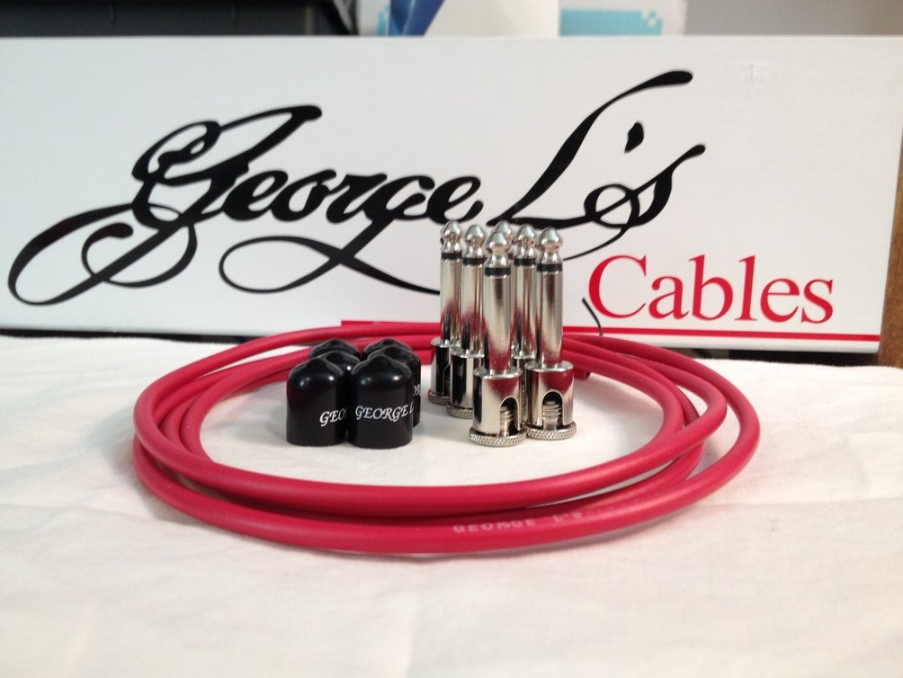 Image 0 of George L's 155 Guitar Pedal Cable Kit .155 Red / Black / Nickel - 6/6/6