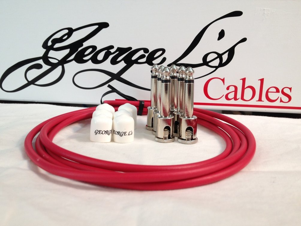 Image 0 of George L's 155 Guitar Pedal Cable Kit .155 Red / White / Nickel - 6/6/6