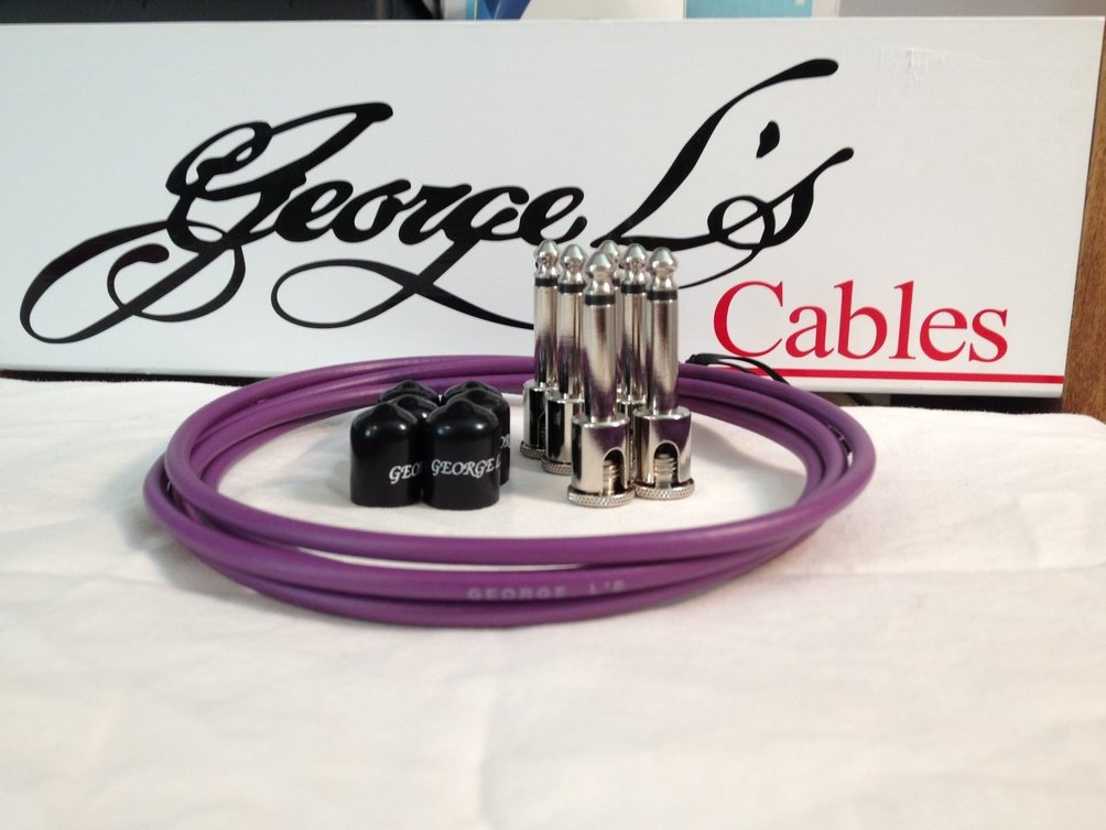 Image 0 of George L's 155 Guitar Pedal Cable Kit .155 Purple / Black / Nickel - 6/6/6