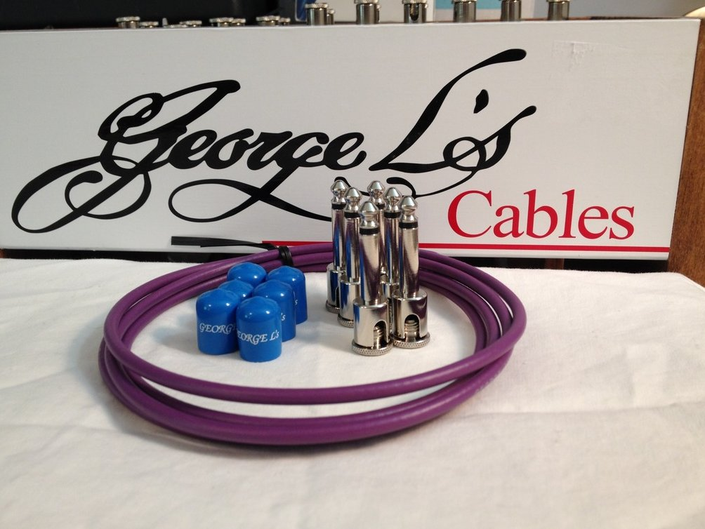 Image 0 of George L's 155 Guitar Pedal Cable Kit .155 Purple / Blue / Nickel - 6/6/6