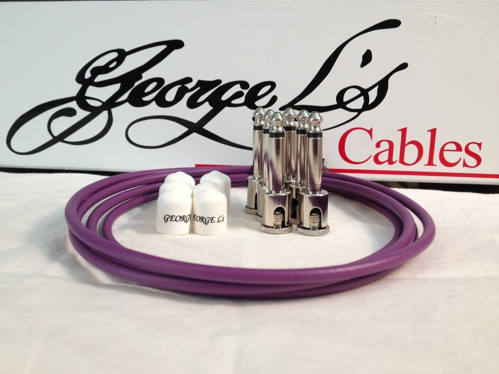 Image 0 of George L's 155 Guitar Pedal Cable Kit .155 Purple / White / Nickel - 6/6/6