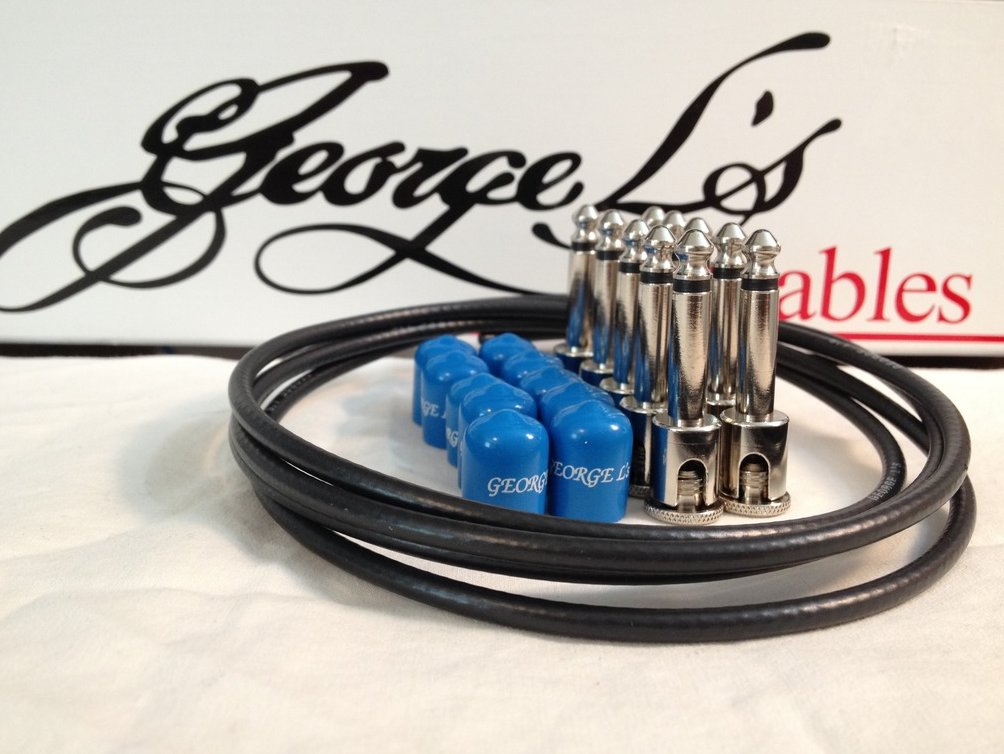 Image 0 of George L's 155 Guitar Pedal Cable Kit .155 Black / Blue / Nickel - 10/10/5