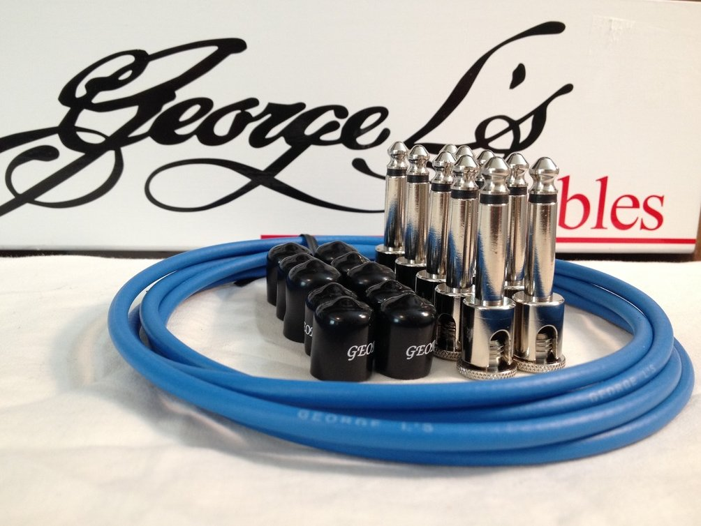 Image 0 of George L's 155 Guitar Pedal Cable Kit .155 Blue / Black / Nickel - 10/10/5