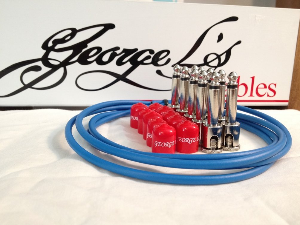 Image 0 of George L's 155 Guitar Pedal Cable Kit .155 Blue / Red / Nickel - 10/10/5