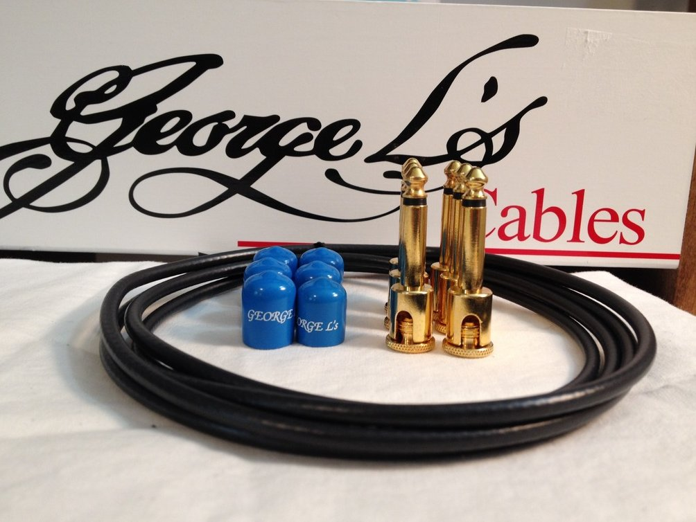 Image 0 of George L's 155 Guitar Pedal Cable Kit .155 Black / Blue / Gold - 6/6/6
