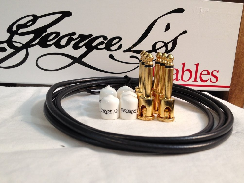 Image 0 of George L's 155 Guitar Pedal Cable Kit .155 Black / White / Gold - 6/6/6