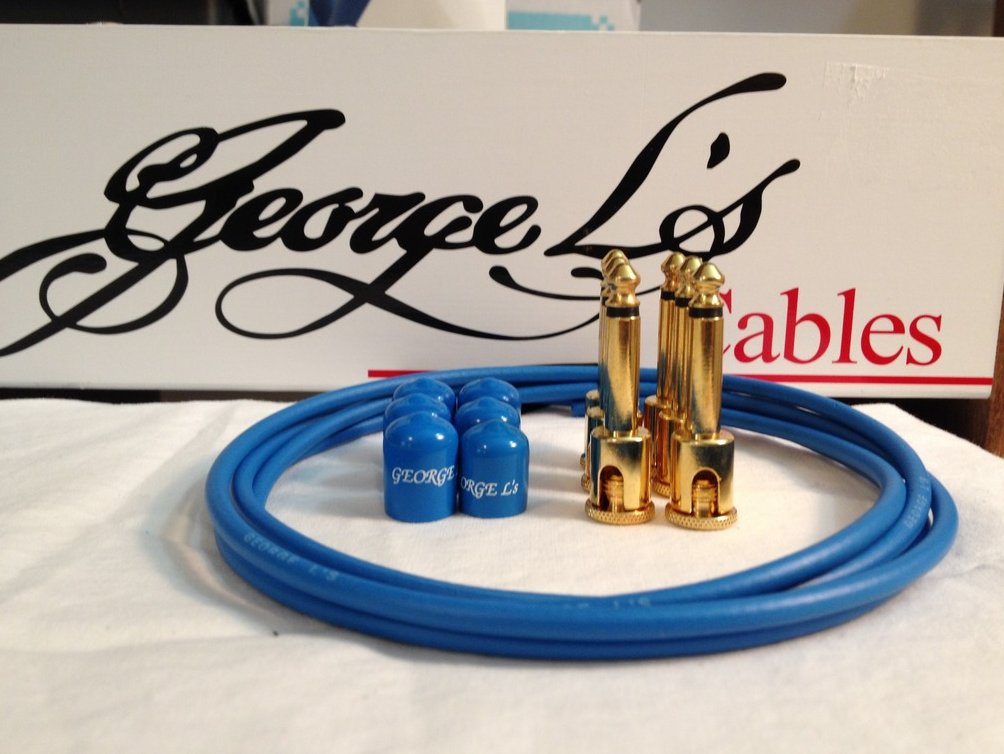 Image 0 of George L's 155 Guitar Pedal Cable Kit .155 Blue / Blue / Gold - 6/6/6
