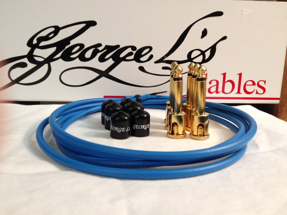 Image 0 of George L's 155 Guitar Pedal Cable Kit .155 Blue / Black / Gold - 6/6/6