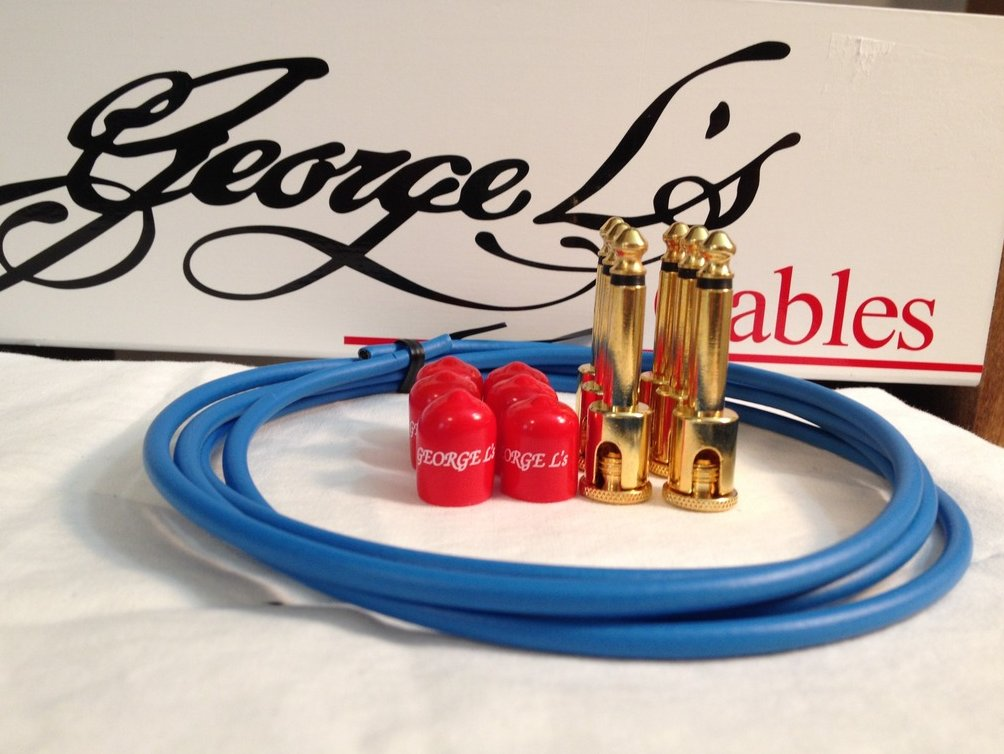 Image 0 of George L's 155 Guitar Pedal Cable Kit .155 Blue / Red / Gold - 6/6/6