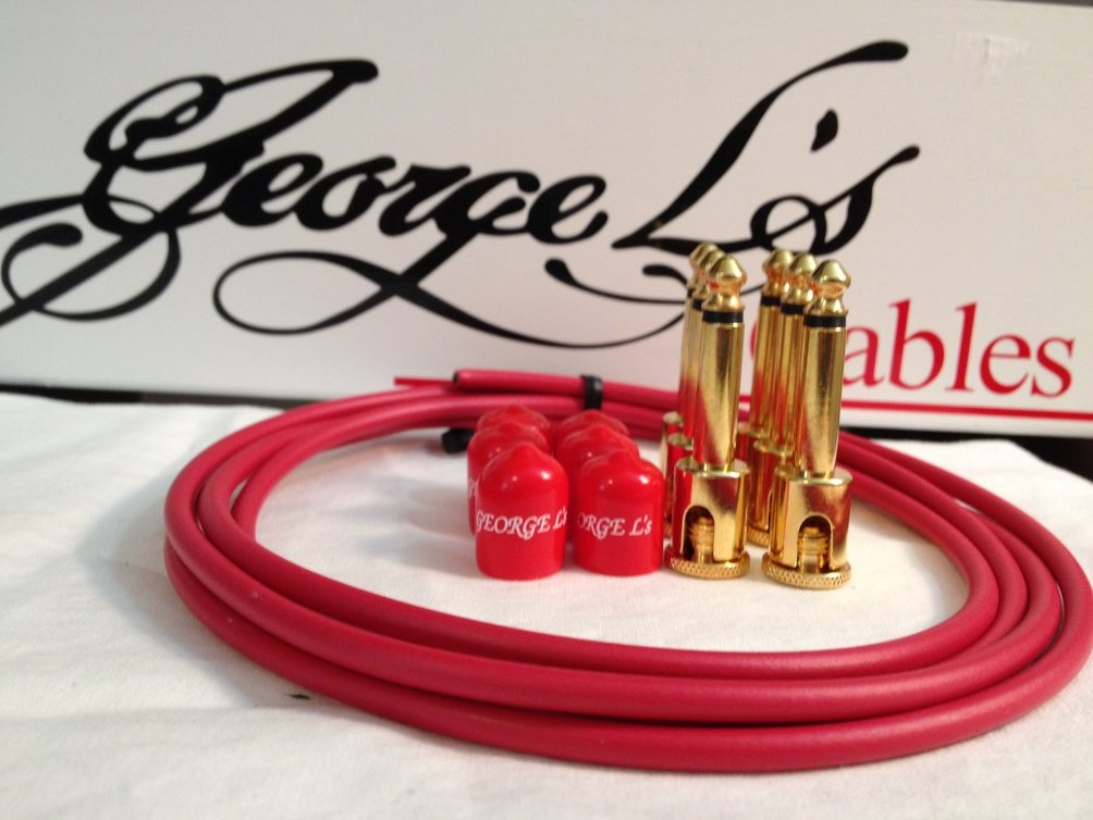 Image 0 of George L's 155 Guitar Pedal Cable Kit .155 Red / Red / Gold - 6/6/6