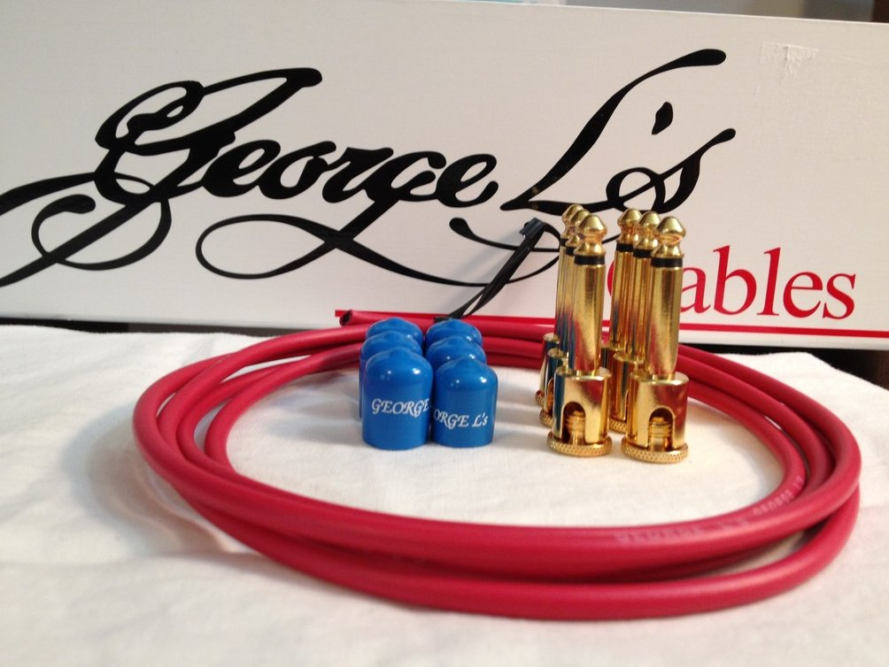 Image 0 of George L's 155 Guitar Pedal Cable Kit .155 Red / Blue / Gold - 6/6/6