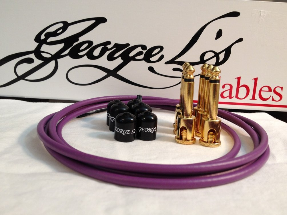 Image 0 of George L's 155 Guitar Pedal Cable Kit .155 Purple / Black / Gold - 6/6/6