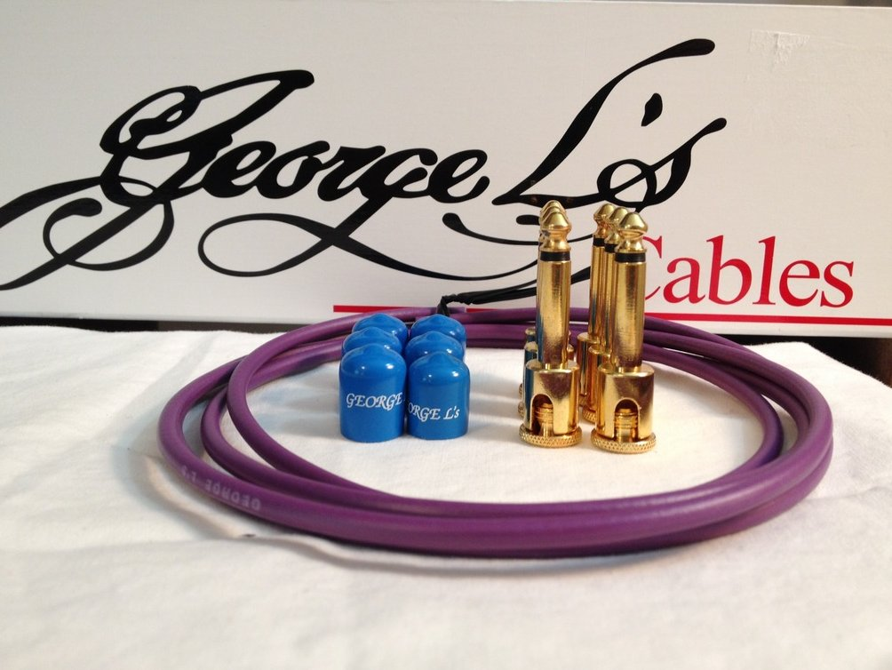 Image 0 of George L's 155 Guitar Pedal Cable Kit .155 Purple / Blue / Gold - 6/6/6