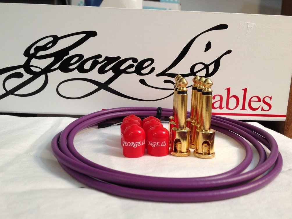 Image 0 of George L's 155 Guitar Pedal Cable Kit .155 Purple / Red / Gold - 6/6/6