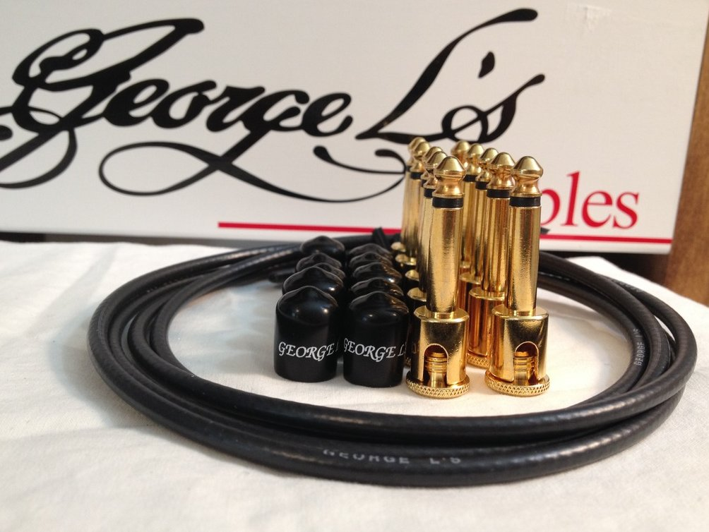 Image 0 of George L's 155 Guitar Pedal Cable Kit .155 Black / Black / Gold - 10/10/5