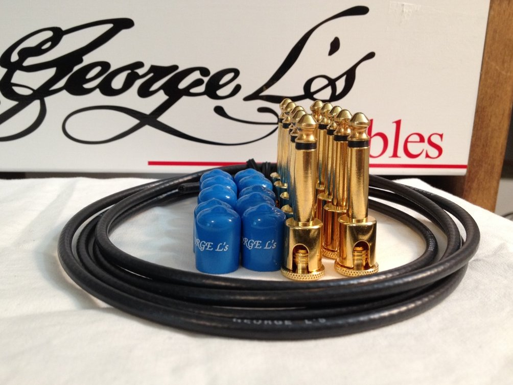 Image 0 of George L's 155 Guitar Pedal Cable Kit .155 Black / Blue / Gold - 10/10/5