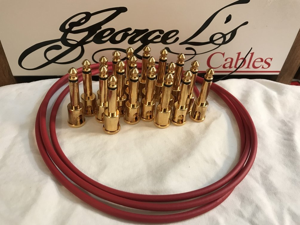 Image 0 of George L's IDEAL Pedalboard .155 GOLD Cable Kit 20 Plugs & 5 Foot - RED