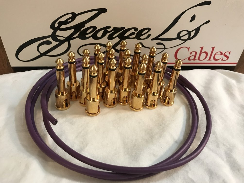 Image 0 of George L's IDEAL Pedalboard .155 GOLD Cable Kit 20 Plugs & 5 Foot - PURPLE