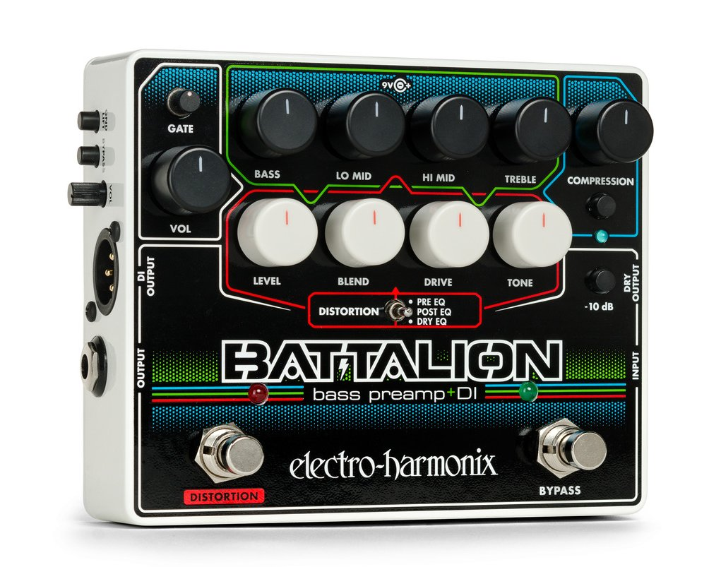 Electro-Harmonix EHX Battalion Bass Preamp Overdrive DI Pedal w/ Power Supply