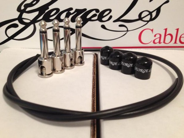 George L's 2 Patch Cable Kit Nickel Right Angle Two Feet Cable 4x Plugs & Jacket