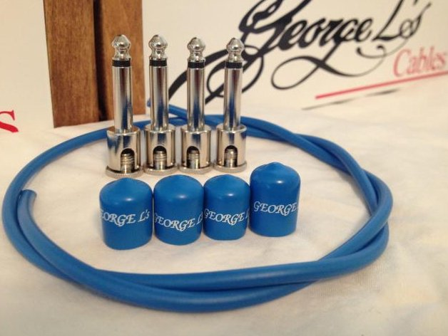 George L's 2 FT Patch Cable Kit Nickel Right Angle w/ 4x Plugs & 4x Jacket BLUE