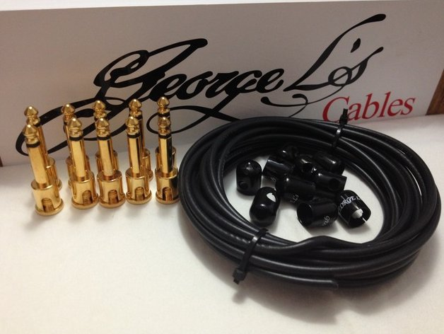 George L's 155 Pedalboard Effects Cable Kit .155 Black / GOLD - 10/10/10