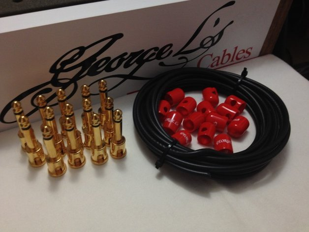 George L's 155 Pedalboard Cable Kit LARGE .155 Black & Red GOLD 15/14/14