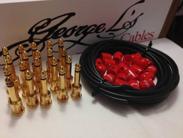 George L's 155 Pedalboard Effects Cable Kit XL .155 Black & Red GOLD - 20/20/20