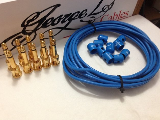 George L's 155 Pedalboard Effects Cable Kit .155 Blue / GOLD - 10/10/10