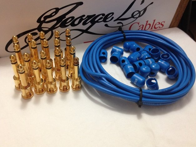 George L's 155 Pedalboard Effects Cable Kit XL .155 Blue / GOLD - 20/20/20