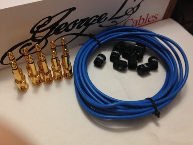 George L's 155 Pedalboard Effects Cable Kit .155 Blue Black GOLD - 10/10/10