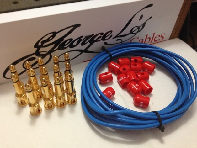 George L's 155 Pedalboard Effects Cable Kit LARGE Blue & Red GOLD 15/14/14